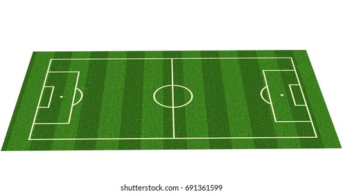 Green grass soccer field background - soccer background 3d  render