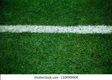 Green grass soccer field close-up background.