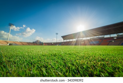 Green grass in soccer stadium.