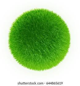 green grass sphere, 3D illustration
