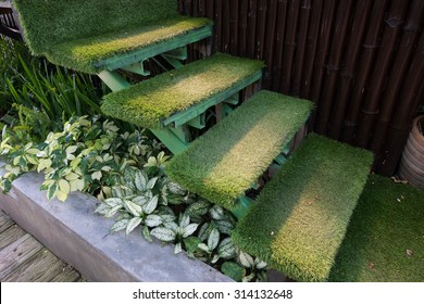 green grass staircase in garden, interior decoration home garden
