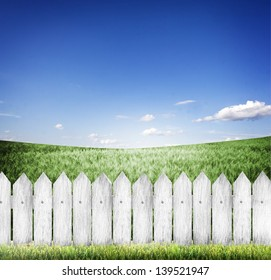 green grass and wood fence