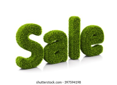 Green grassy symbol of sale isolated on white