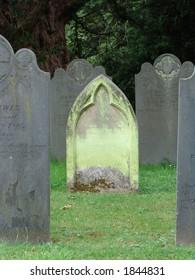 Green gravestone