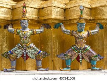 Green and gray giants symbol on Thai pagoda at Wat Phra Kaew, Temple of the Emerald Buddha. Bangkok, Thailand