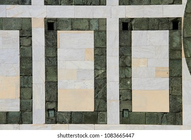 Green and gray stone, marble-granite, facade - wall; background, texture, pattern.