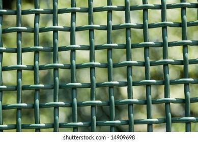 Green grid fence