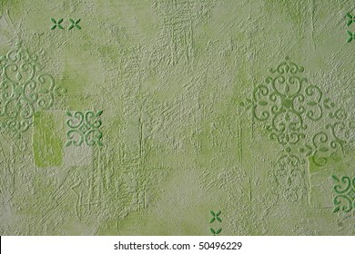 green grooved wallpaper