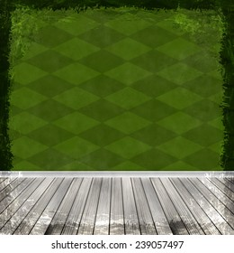 Green grunge background. Old abstract vintage texture with frame and border.
