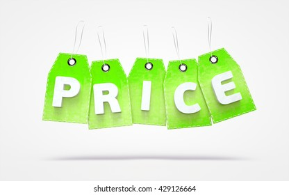 Green grunge design sale label, 3D rendering price tags with text PRICE.