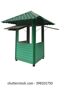 Green guardhouse isolated