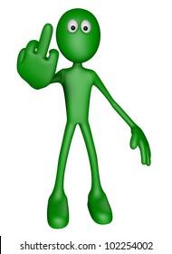 green guy shows his middle finger - 3d illustration