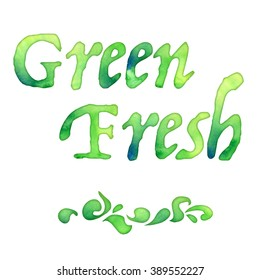 green hand made watercolor font