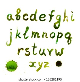 Green hand painted letters of english alphabet