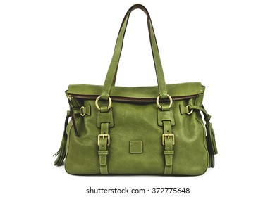 Green Handbag with Tassels on White Background