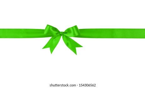 green handmade ribbon with bow, isolated on white