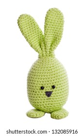 green handmade stuffed animal easter bunny
