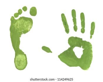 Green handprint colored  inks footprints