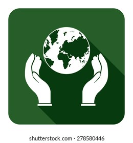 Green Hands Holding Earth Flat Long Shadow Style Icon, Label, Sticker, Sign or Banner Isolated on White Background