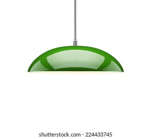 Green hanging lamp isolated
