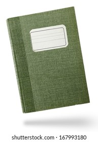 Green hardcover notebook front isolated on white