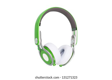 Green headphones isolated on a white background