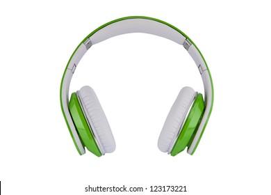 Green headphones on white background