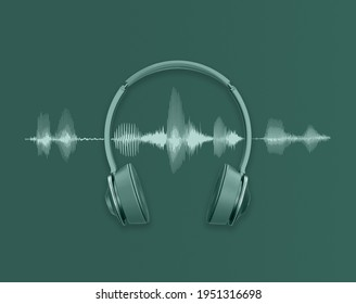 green headphones and sound waves, Audio background for DJ's, playlist or podcast
