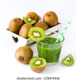 Green healthy kiwi tropical smoothie white background square image
