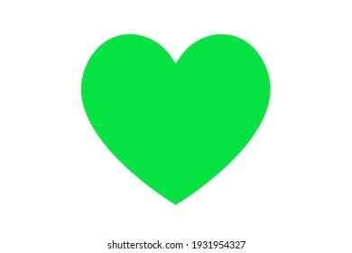 Green heart illustration over white. Love symbol icon. Valentine's Day. Wedding.