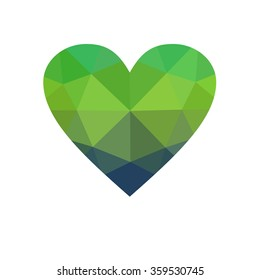 Green heart isolated on white background. Geometric rumpled triangular low poly origami style gradient graphic illustration. Raster polygonal design for your business.