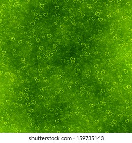 green hearts background of Valentine's day. Love grunge texture