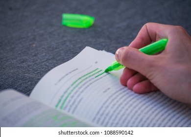 Green Highlight Highlighter Held By Girl Woman Hand School Study Book Marking