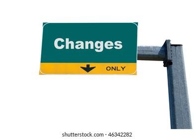 Green highway billboard the word of change on it