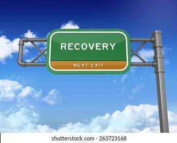 Green Highway Sign with RECOVERY Text on Blue Sky and Clouds Background. Next Exit Text. High Quality 3D Rendering.