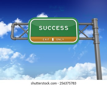 Green Highway Sign with Success Text on Blue Sky and Clouds Background. Next Exit Text. High Quality 3D Rendering.