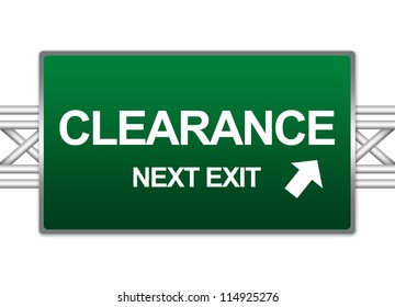 Green Highway Street Sign For Business Concept Present By Clearance Next Exit Sign Isolate on White Background