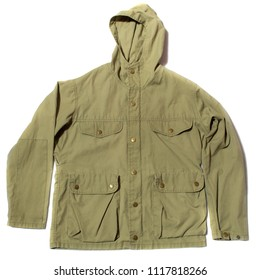 Green hiking jacket with hood on white background