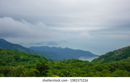 Green hill and mountain landscape view from Lantau Island, Hong Kong