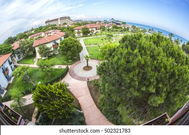 Green hill and resort, top fish eye view