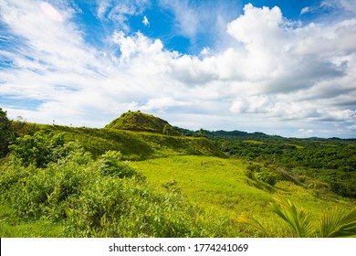 Green hill and terrace in Aimeliik state, the famous prehistoric terraces, the largest in Palau
