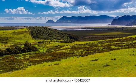 Green hills around Whangapoua beach, Great Barrier Island, New Zealand