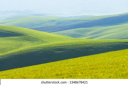 Green hills, meadows and mountain slopes. Spring rural landscape. The distant plan in the morning haze. Natural green background.