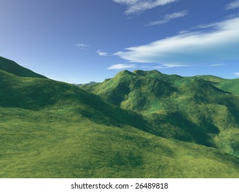 Green hills and mountains