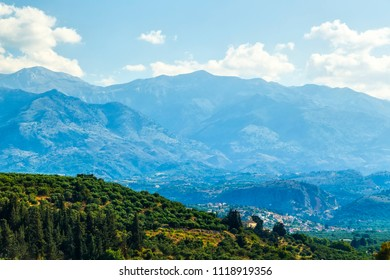 Green hills and mountains on the Greek island of Crete in Chania region on a beautiful sunny day