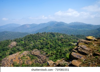 Green hills panorama landscape South India