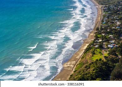 green hills and sea landscape, location - Kapiti Island coastline, North Island, New Zealand
