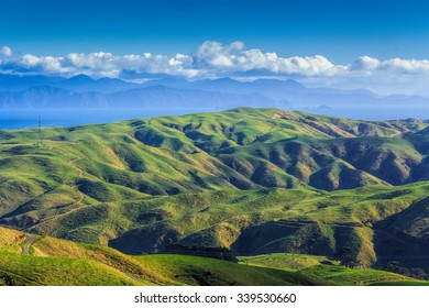 green hills and sea landscape, location - Wellington, North Island, New Zealand