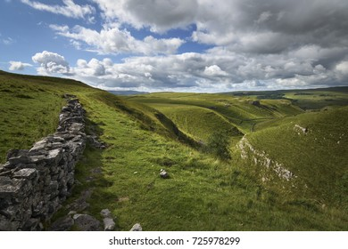 Green hills typical English limestone landscape Coniston Dales Way