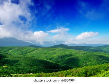 Green hills with with wood on background blue sky